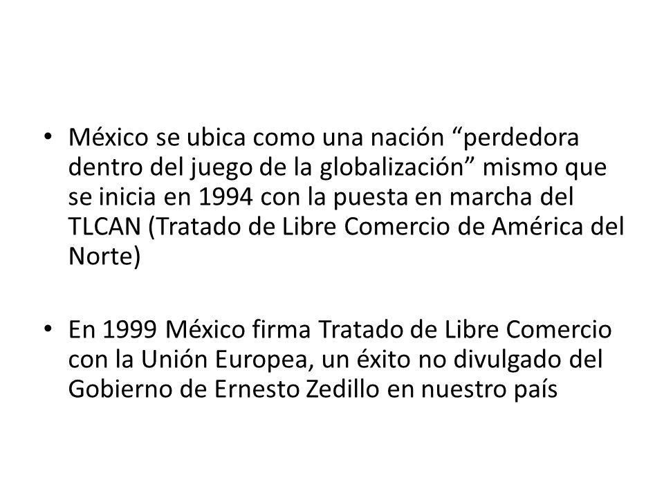 México se ubica como una nación perdedora dentro del juego de la globalización mismo que se inicia en 1994 con la puesta en marcha del TLCAN (Tratado