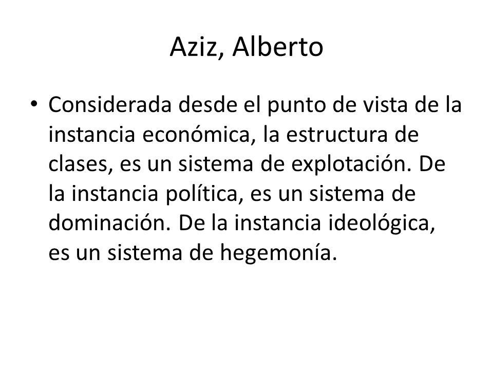 Aziz, Alberto Considerada desde el punto de vista de la instancia económica, la estructura de clases, es un sistema de explotación. De la instancia po