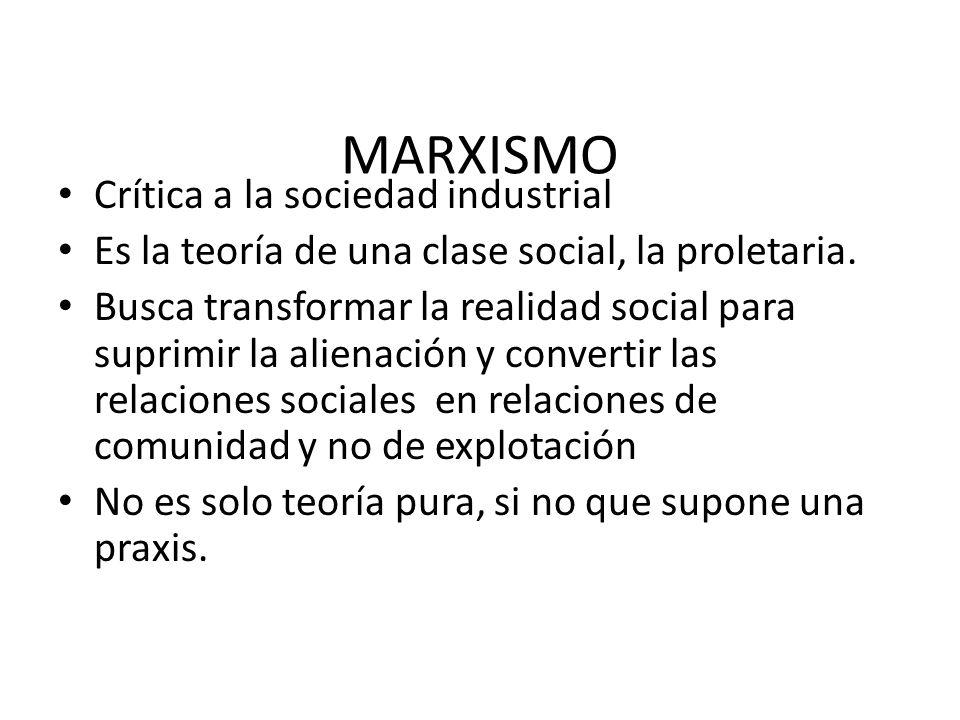 MARXISMO Crítica a la sociedad industrial Es la teoría de una clase social, la proletaria. Busca transformar la realidad social para suprimir la alien