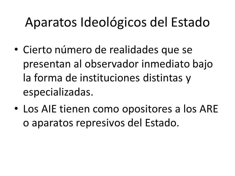 Aparatos Ideológicos del Estado Cierto número de realidades que se presentan al observador inmediato bajo la forma de instituciones distintas y especi
