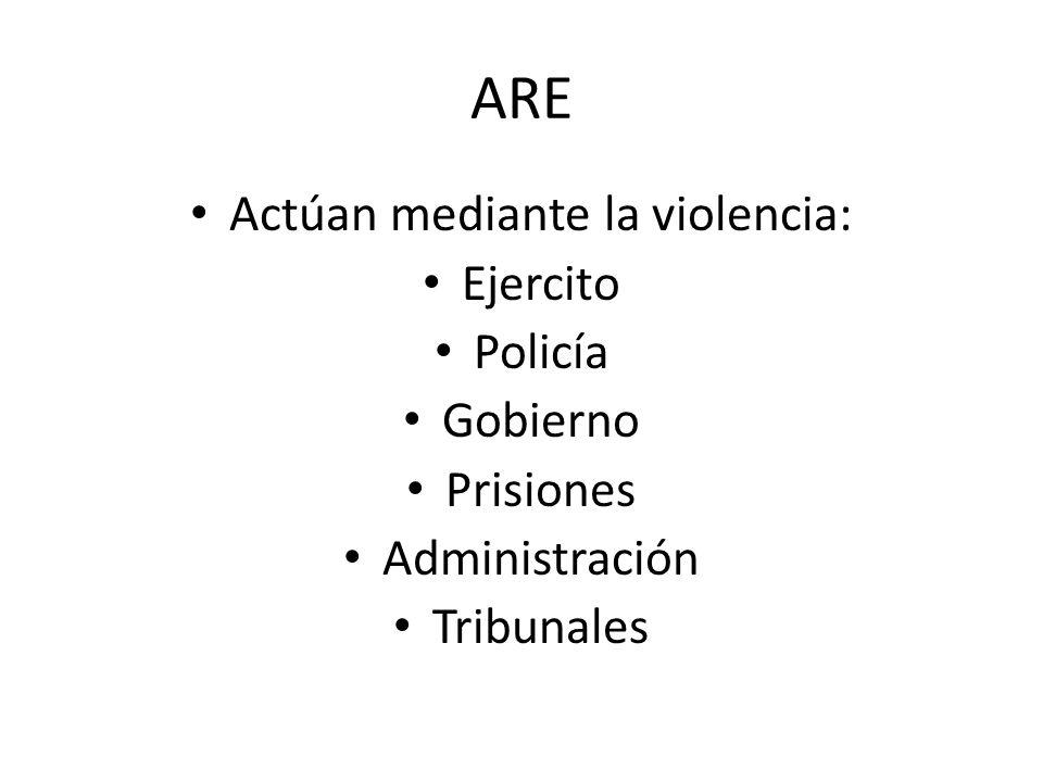 ARE Actúan mediante la violencia: Ejercito Policía Gobierno Prisiones Administración Tribunales