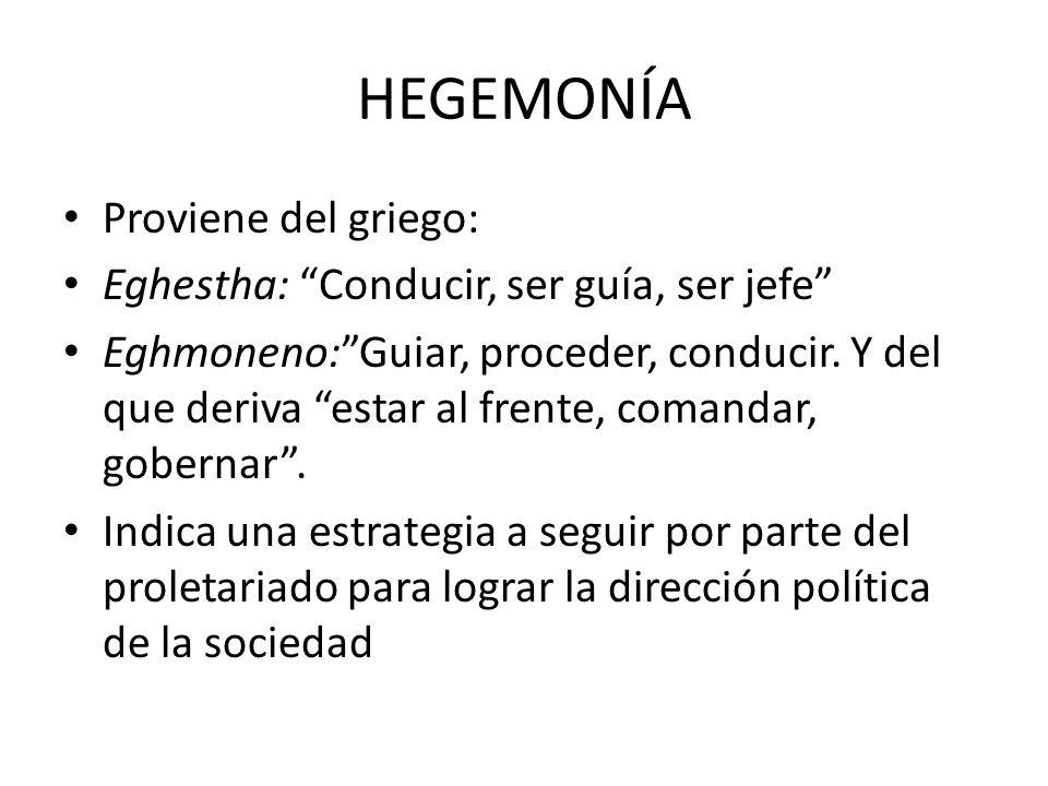 HEGEMONÍA Proviene del griego: Eghestha: Conducir, ser guía, ser jefe Eghmoneno:Guiar, proceder, conducir. Y del que deriva estar al frente, comandar,
