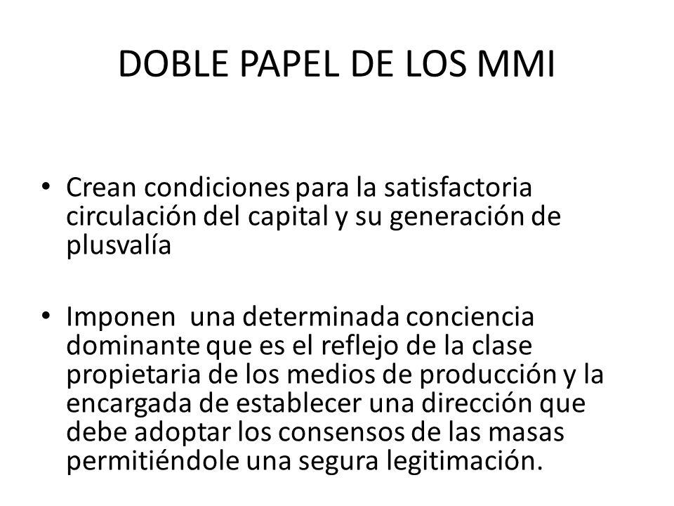 DOBLE PAPEL DE LOS MMI Crean condiciones para la satisfactoria circulación del capital y su generación de plusvalía Imponen una determinada conciencia