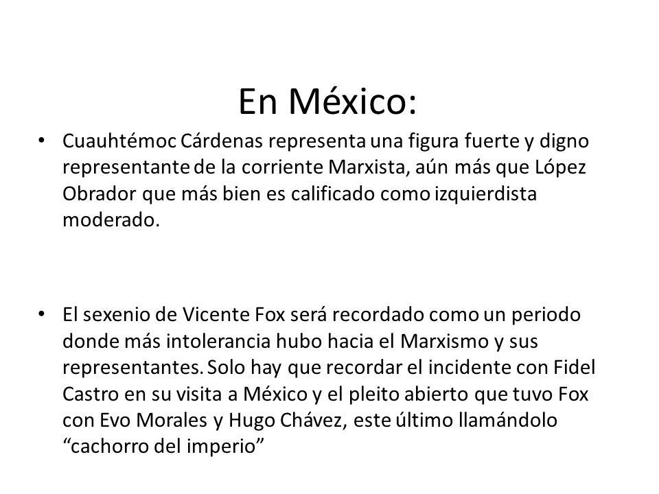 En México: Cuauhtémoc Cárdenas representa una figura fuerte y digno representante de la corriente Marxista, aún más que López Obrador que más bien es