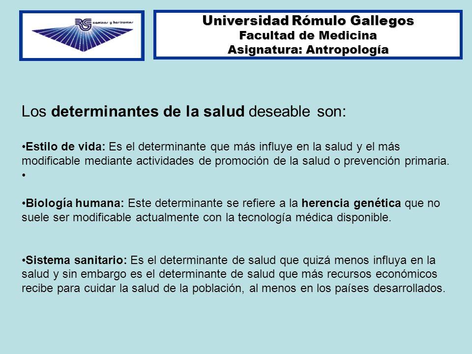 Universidad Rómulo Gallegos Facultad de Medicina Asignatura: Antropología Los determinantes de la salud deseable son: Estilo de vida: Es el determinan