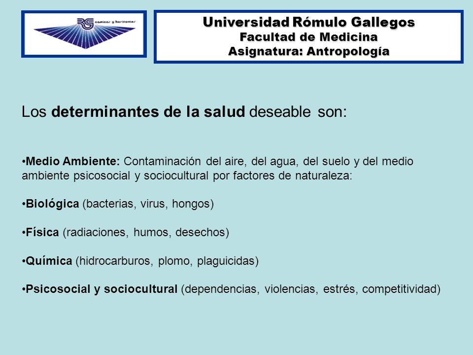 Universidad Rómulo Gallegos Facultad de Medicina Asignatura: Antropología Los determinantes de la salud deseable son: Medio Ambiente: Contaminación de