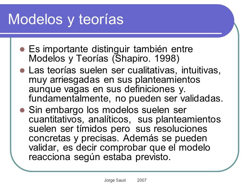 Jorge Sauri 2007 Modelos y teorías Es importante distinguir también entre Modelos y Teorías (Shapiro. 1998) Las teorías suelen ser cualitativas, intui
