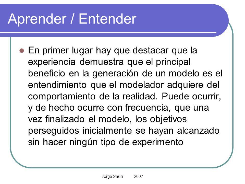 Jorge Sauri 2007 Aprender / Entender En primer lugar hay que destacar que la experiencia demuestra que el principal beneficio en la generación de un m