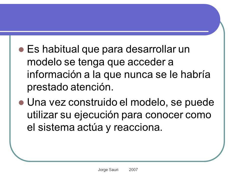 Jorge Sauri 2007 Es habitual que para desarrollar un modelo se tenga que acceder a información a la que nunca se le habría prestado atención. Una vez