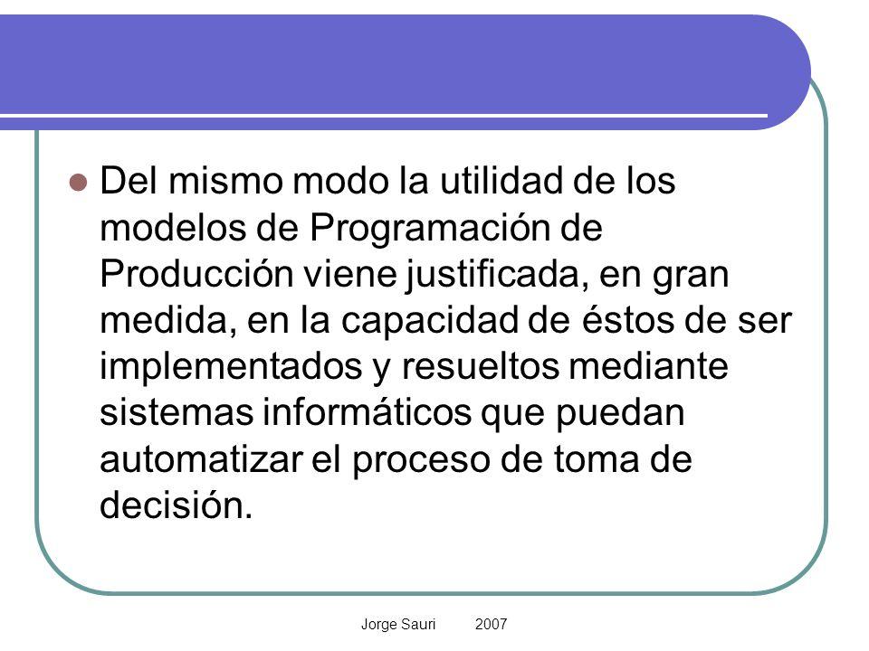 Jorge Sauri 2007 Del mismo modo la utilidad de los modelos de Programación de Producción viene justificada, en gran medida, en la capacidad de éstos d