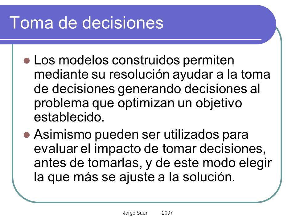 Jorge Sauri 2007 Toma de decisiones Los modelos construidos permiten mediante su resolución ayudar a la toma de decisiones generando decisiones al pro