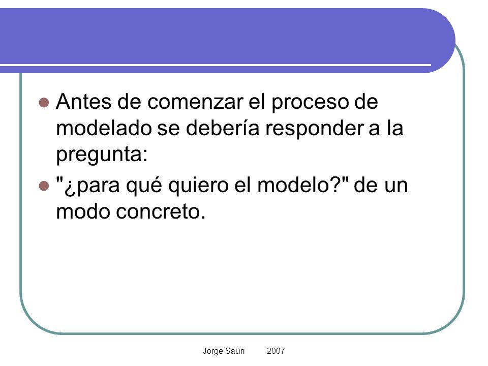Jorge Sauri 2007 Antes de comenzar el proceso de modelado se debería responder a la pregunta: