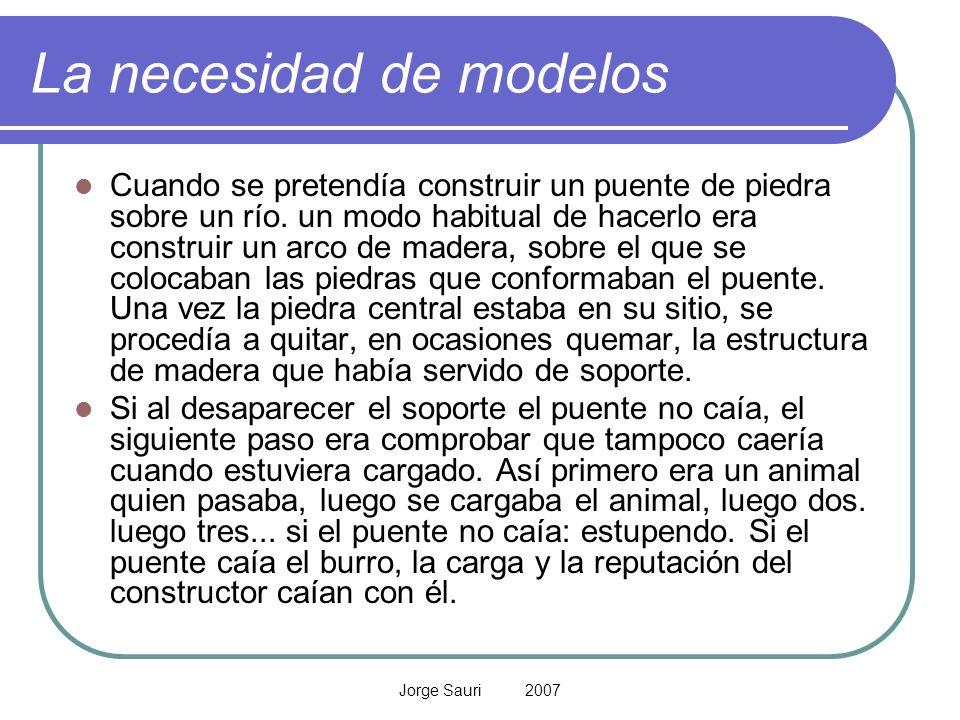 Jorge Sauri 2007 La necesidad de modelos Cuando se pretendía construir un puente de piedra sobre un río. un modo habitual de hacerlo era construir un