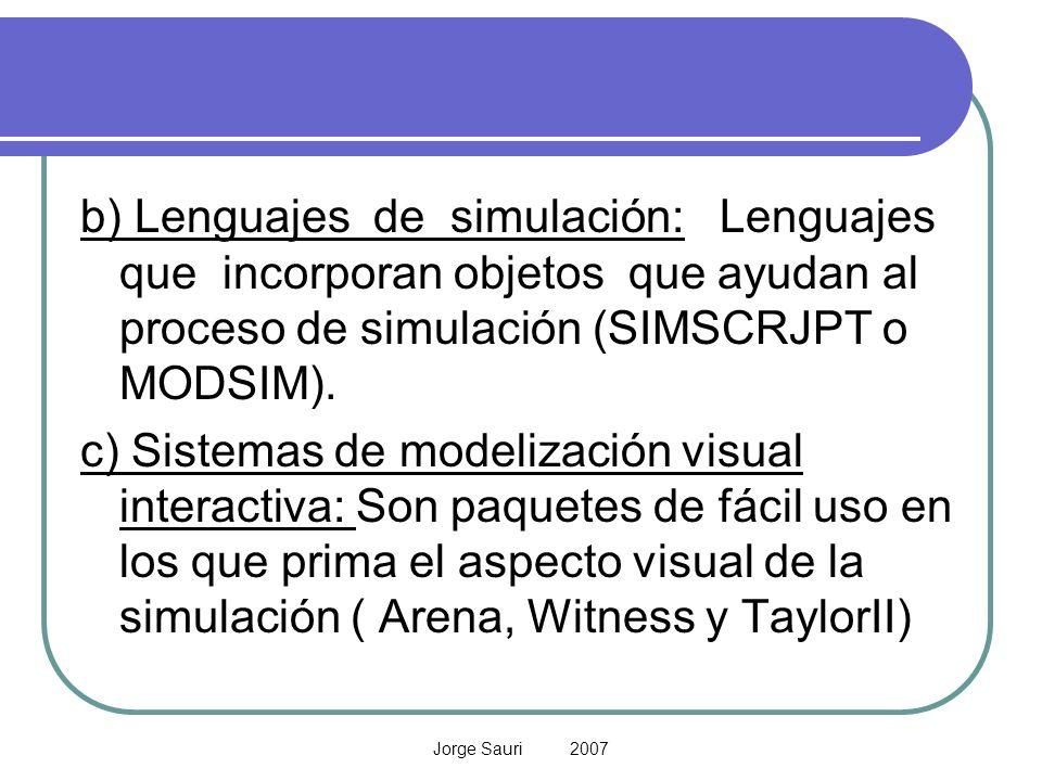 Jorge Sauri 2007 b) Lenguajes de simulación: Lenguajes que incorporan objetos que ayudan al proceso de simulación (SIMSCRJPT o MODSIM). c) Sistemas de