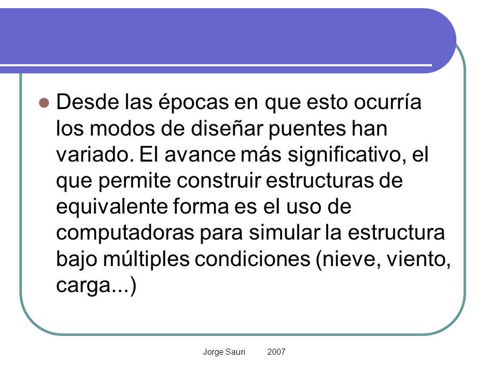 Jorge Sauri 2007 Continuo - Discreto El Continuo estado de las variables cambia continuamente como una función del tiempo e = f (t) Método analítico: usa razonamiento de matemáticas deductivas para definir y resolver el sistema Discreto (*) El estado del sistema cambia en tiempos discretos del tiempo e = f(nT) Método numérico: usa procedimientos computacionales para resolver el modelo matemático.