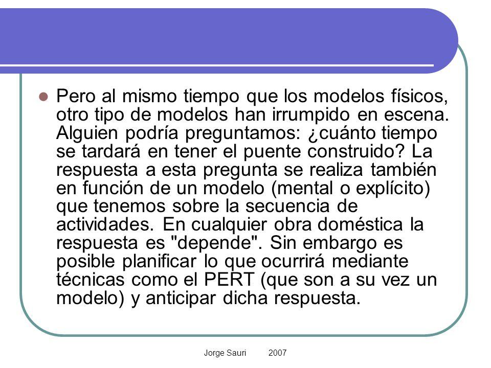 Jorge Sauri 2007 Pero al mismo tiempo que los modelos físicos, otro tipo de modelos han irrumpido en escena. Alguien podría preguntamos: ¿cuánto tiemp