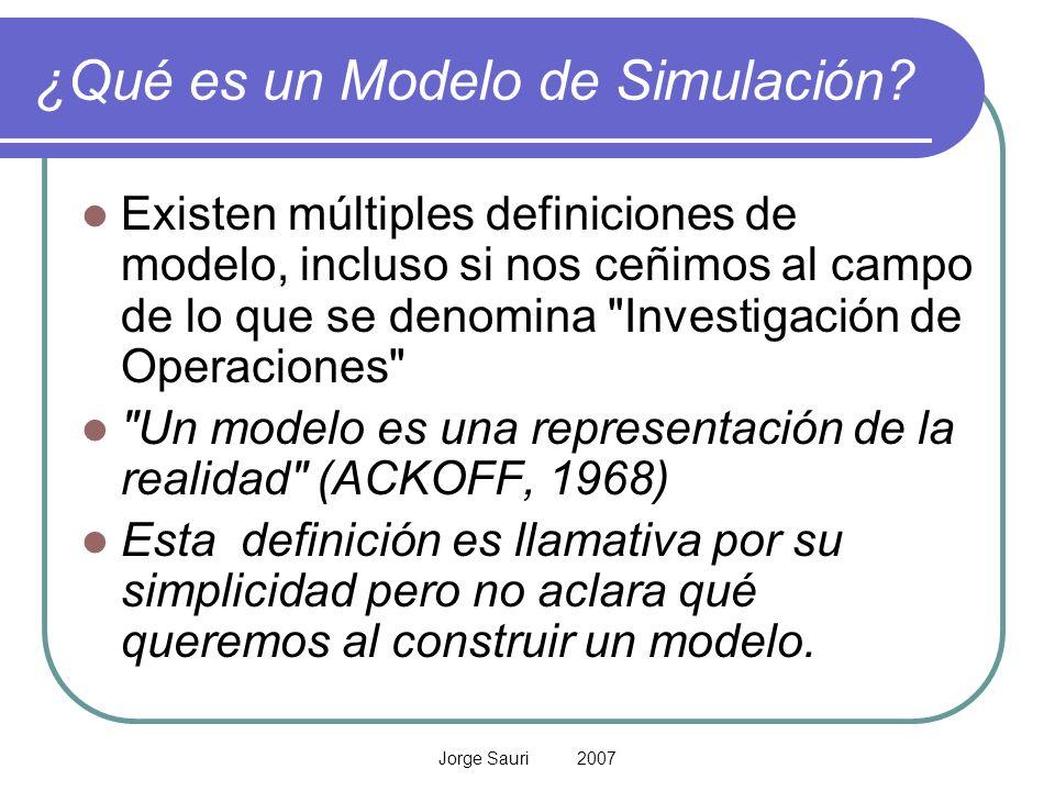 Jorge Sauri 2007 ¿Qué es un Modelo de Simulación? Existen múltiples definiciones de modelo, incluso si nos ceñimos al campo de lo que se denomina