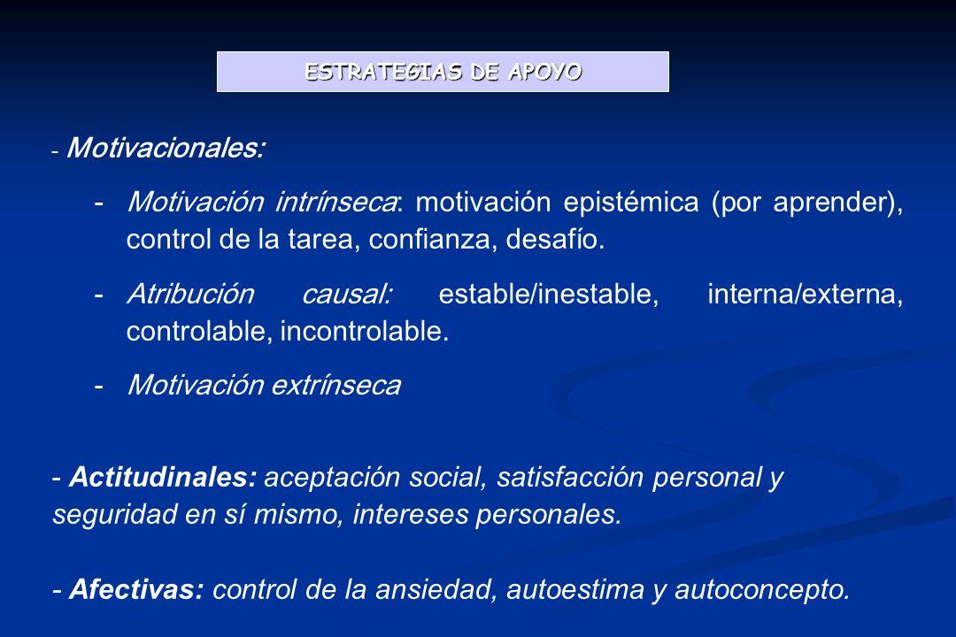 - Motivacionales: -Motivación intrínseca: motivación epistémica (por aprender), control de la tarea, confianza, desafío.