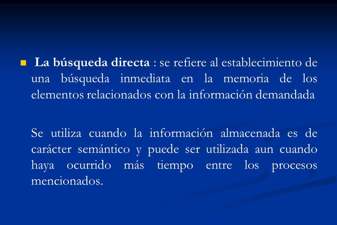 La búsqueda directa : se refiere al establecimiento de una búsqueda inmediata en la memoria de los elementos relacionados con la información demandada Se utiliza cuando la información almacenada es de carácter semántico y puede ser utilizada aun cuando haya ocurrido más tiempo entre los procesos mencionados.