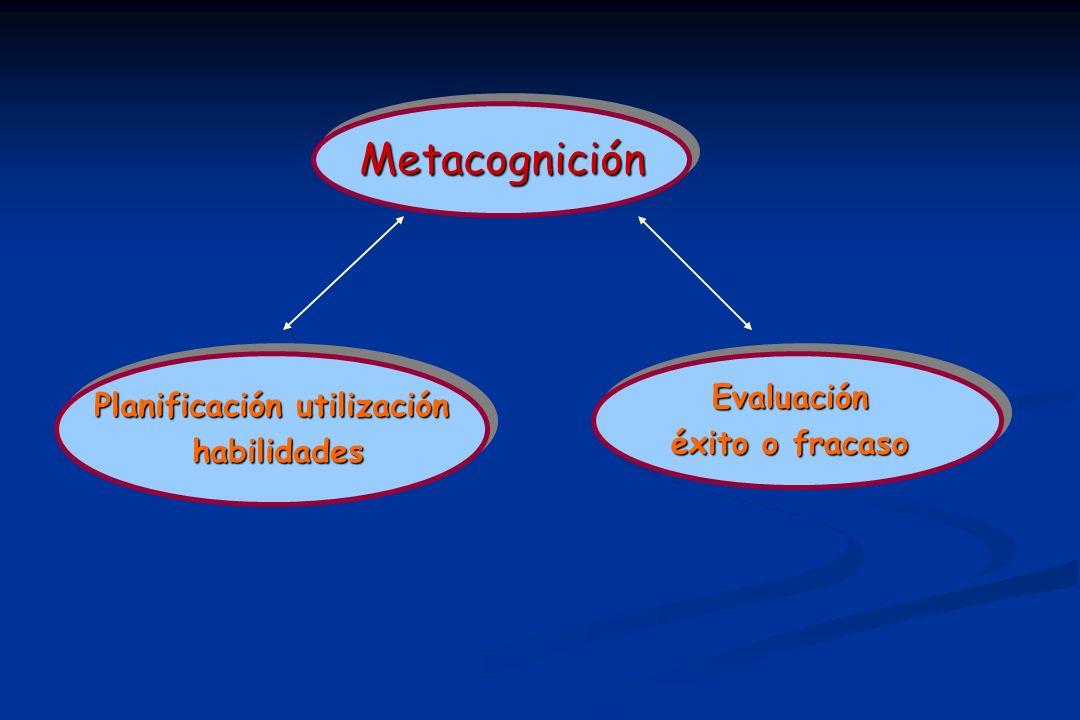 MetacogniciónMetacognición Planificación utilización habilidades habilidades Planificación utilización habilidades habilidadesEvaluación éxito o fracaso Evaluación