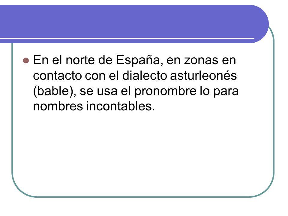 En el norte de España, en zonas en contacto con el dialecto asturleonés (bable), se usa el pronombre lo para nombres incontables.