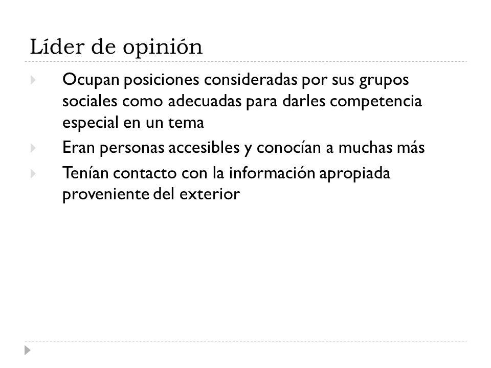 Líder de opinión Ocupan posiciones consideradas por sus grupos sociales como adecuadas para darles competencia especial en un tema Eran personas acces