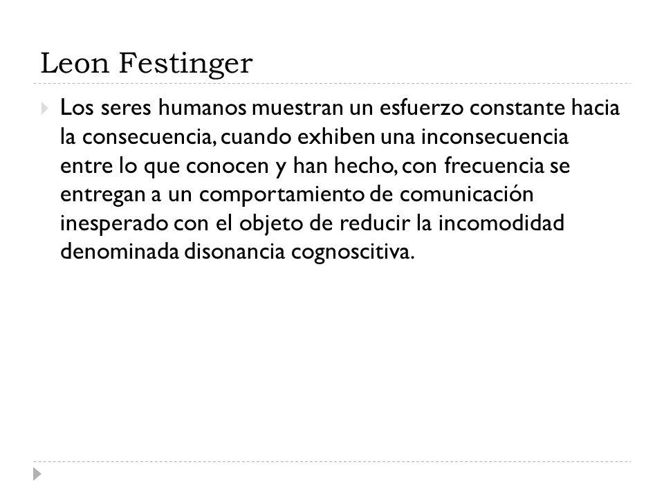 Leon Festinger Los seres humanos muestran un esfuerzo constante hacia la consecuencia, cuando exhiben una inconsecuencia entre lo que conocen y han he