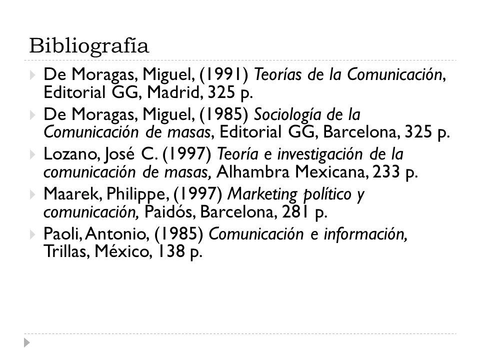 Bibliografía De Moragas, Miguel, (1991) Teorías de la Comunicación, Editorial GG, Madrid, 325 p. De Moragas, Miguel, (1985) Sociología de la Comunicac