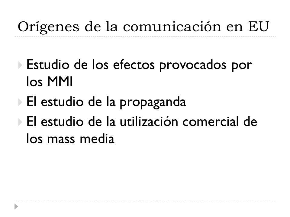 Orígenes de la comunicación en EU Estudio de los efectos provocados por los MMI El estudio de la propaganda El estudio de la utilización comercial de