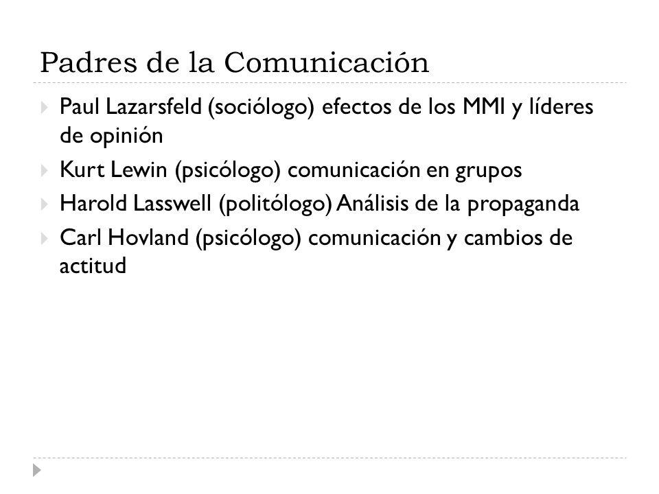 Padres de la Comunicación Paul Lazarsfeld (sociólogo) efectos de los MMI y líderes de opinión Kurt Lewin (psicólogo) comunicación en grupos Harold Las
