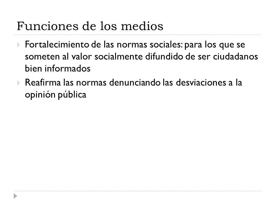 Funciones de los medios Fortalecimiento de las normas sociales: para los que se someten al valor socialmente difundido de ser ciudadanos bien informad