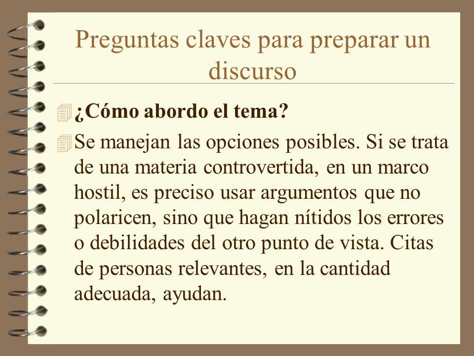 Preguntas claves para preparar un discurso 4 ¿Cómo abordo el tema? 4 Se manejan las opciones posibles. Si se trata de una materia controvertida, en un