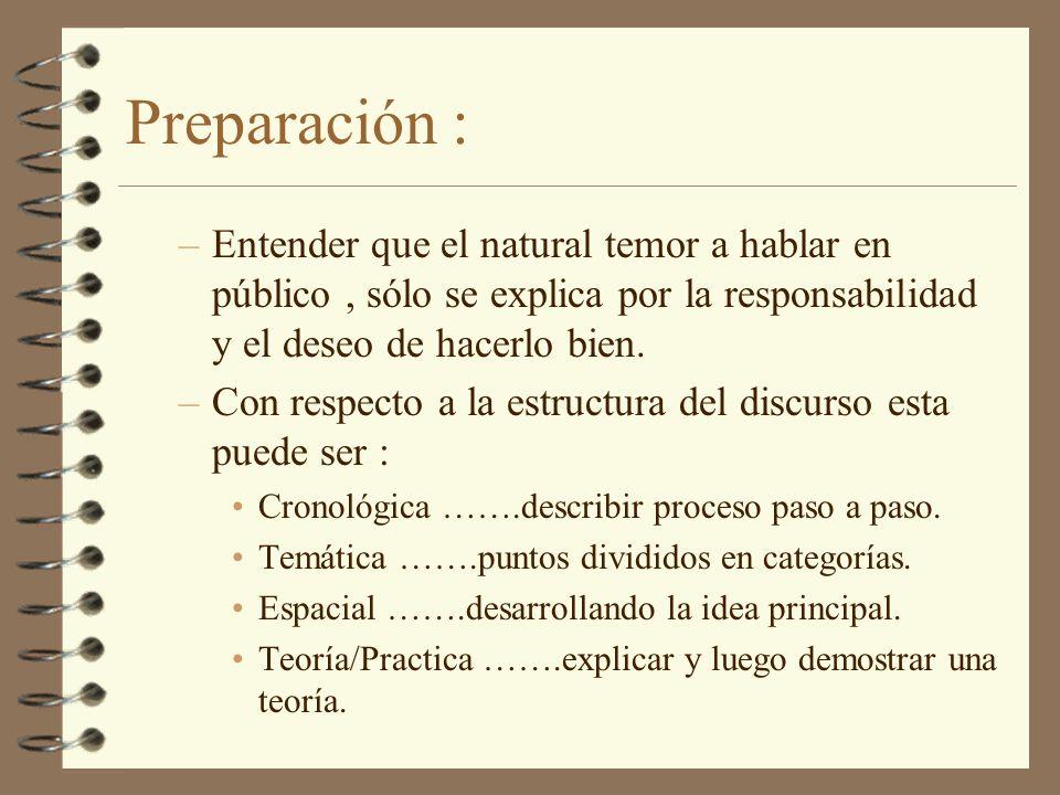 Preparación : –Entender que el natural temor a hablar en público, sólo se explica por la responsabilidad y el deseo de hacerlo bien. –Con respecto a l