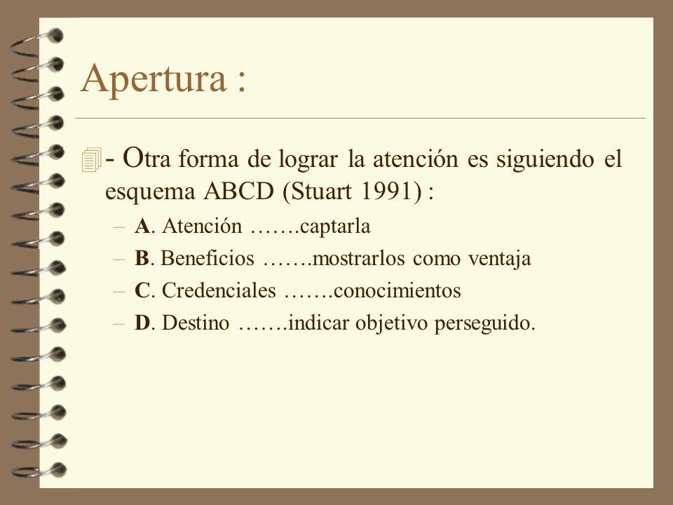 Apertura : 4 - O tra forma de lograr la atención es siguiendo el esquema ABCD (Stuart 1991) : –A. Atención …….captarla –B. Beneficios …….mostrarlos co