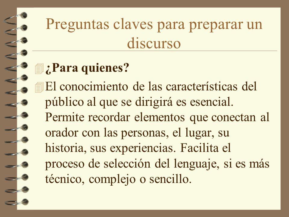 Preguntas claves para preparar un discurso 4 ¿Para quienes? 4 El conocimiento de las características del público al que se dirigirá es esencial. Permi