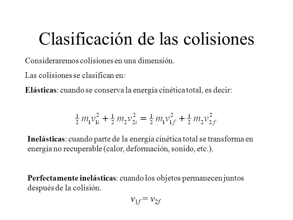 Consideraremos colisiones en una dimensión. Las colisiones se clasifican en: Elásticas: cuando se conserva la energía cinética total, es decir: Inelás