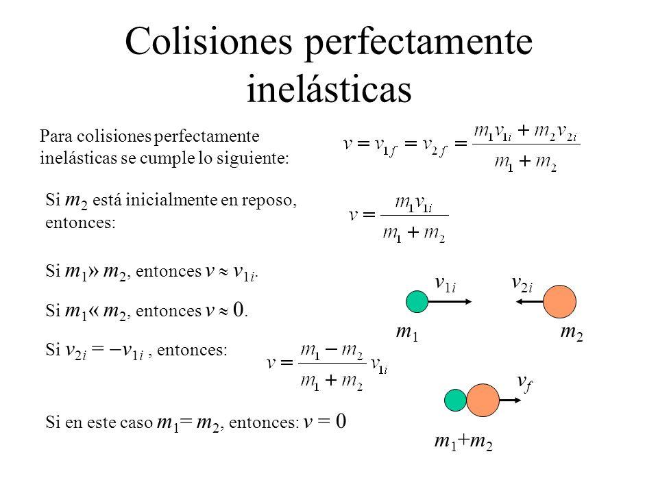 Para colisiones perfectamente inelásticas se cumple lo siguiente: Si m 2 está inicialmente en reposo, entonces: Si m 1 » m 2, entonces v v 1i. Si m 1