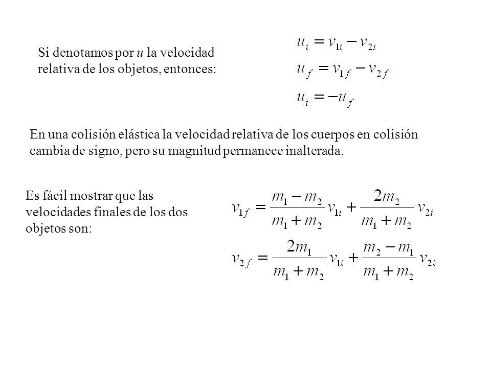 Es fácil mostrar que las velocidades finales de los dos objetos son: En una colisión elástica la velocidad relativa de los cuerpos en colisión cambia