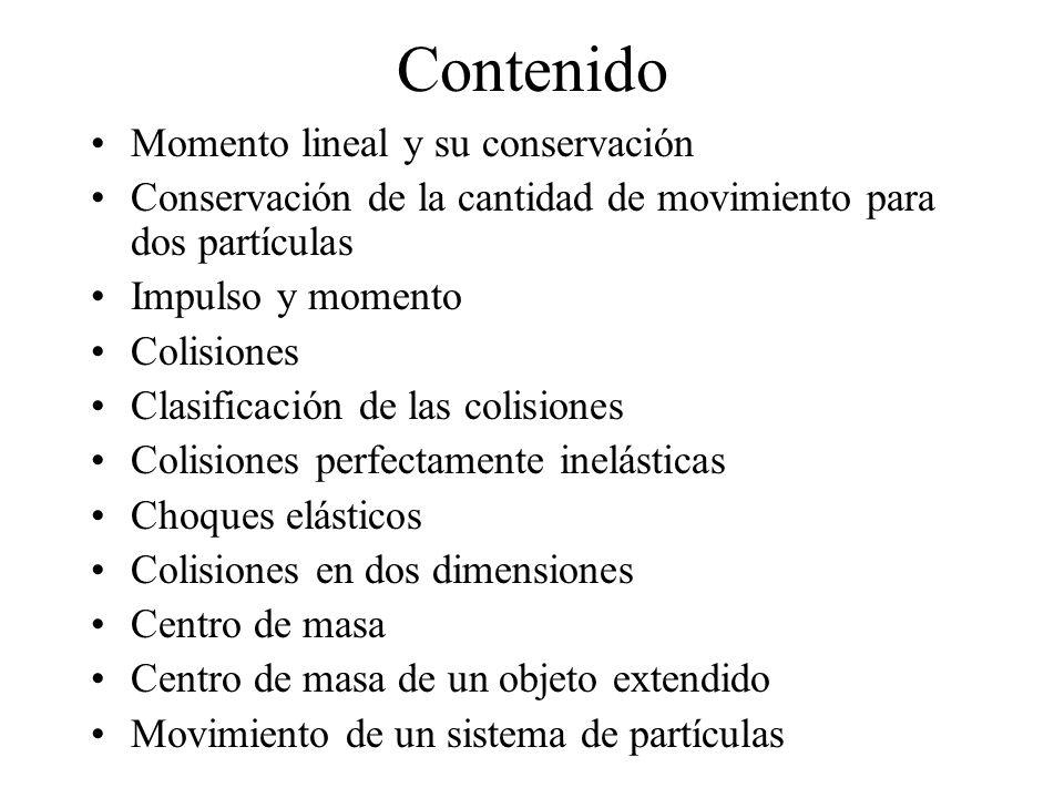 Contenido Momento lineal y su conservación Conservación de la cantidad de movimiento para dos partículas Impulso y momento Colisiones Clasificación de