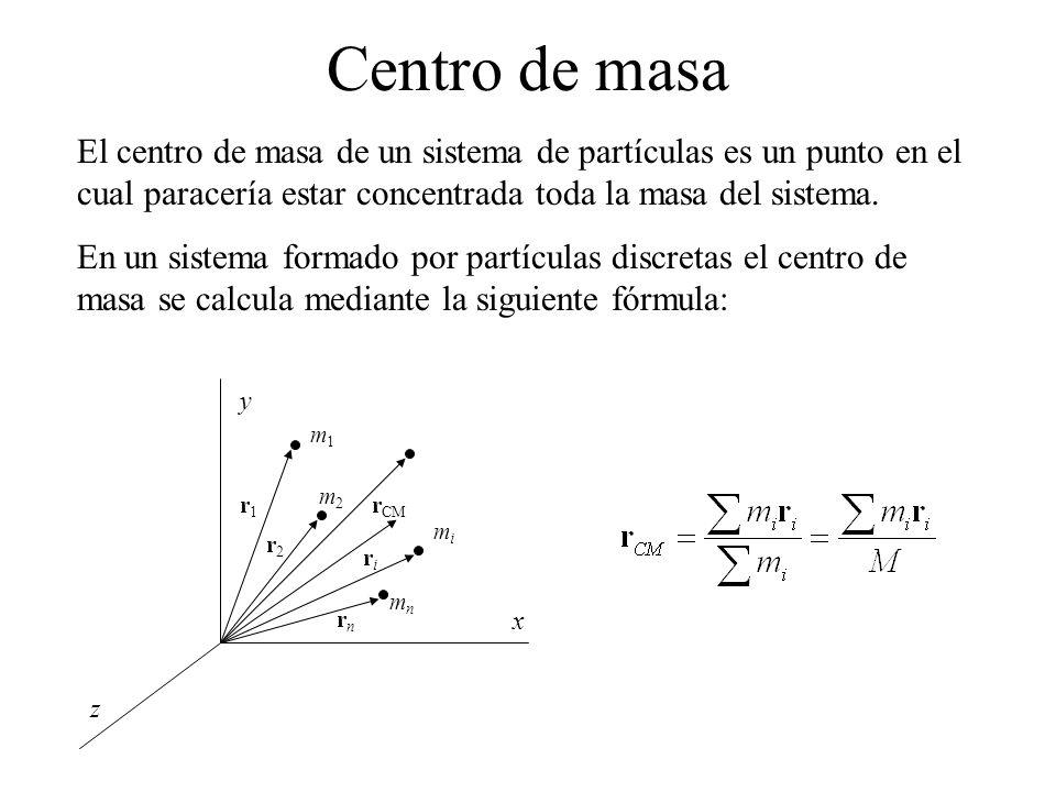 Centro de masa El centro de masa de un sistema de partículas es un punto en el cual paracería estar concentrada toda la masa del sistema. En un sistem