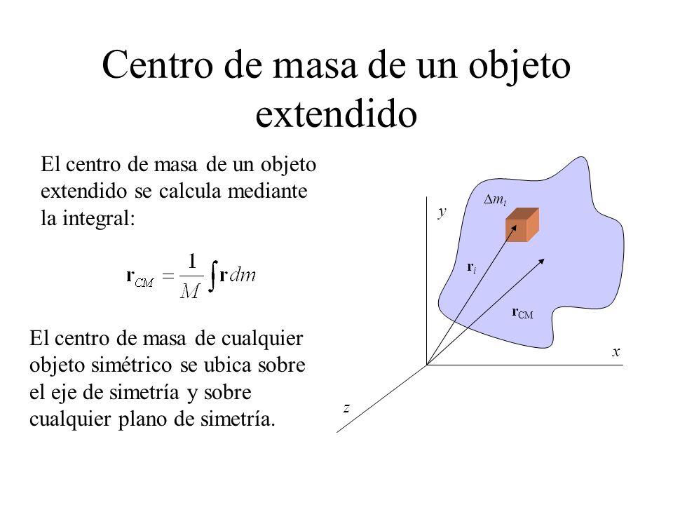 Centro de masa de un objeto extendido r CM x y z riri m i El centro de masa de un objeto extendido se calcula mediante la integral: El centro de masa