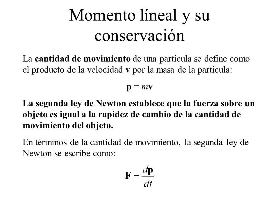 La cantidad de movimiento de una partícula se define como el producto de la velocidad v por la masa de la partícula: p = mv La segunda ley de Newton e