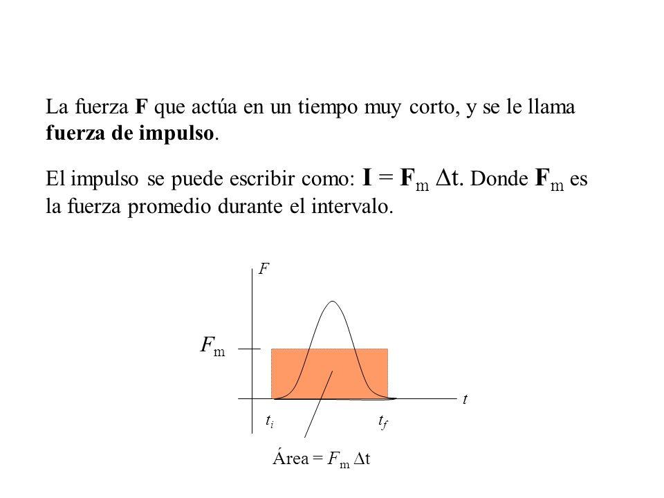 La fuerza F que actúa en un tiempo muy corto, y se le llama fuerza de impulso. El impulso se puede escribir como: I = F m t. Donde F m es la fuerza pr