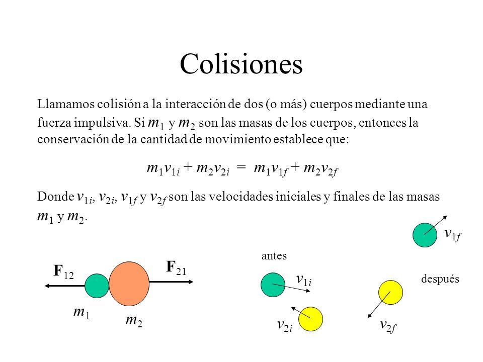 Colisiones Llamamos colisión a la interacción de dos (o más) cuerpos mediante una fuerza impulsiva. Si m 1 y m 2 son las masas de los cuerpos, entonce