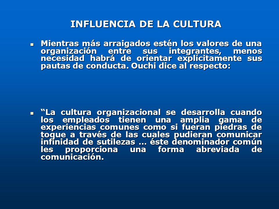INFLUENCIA DE LA CULTURA Mientras más arraigados estén los valores de una organización entre sus integrantes, menos necesidad habrá de orientar explíc