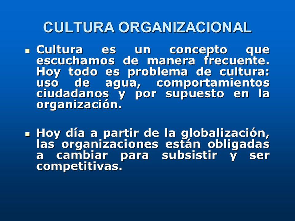 CULTURA ORGANIZACIONAL Cultura es un concepto que escuchamos de manera frecuente. Hoy todo es problema de cultura: uso de agua, comportamientos ciudad