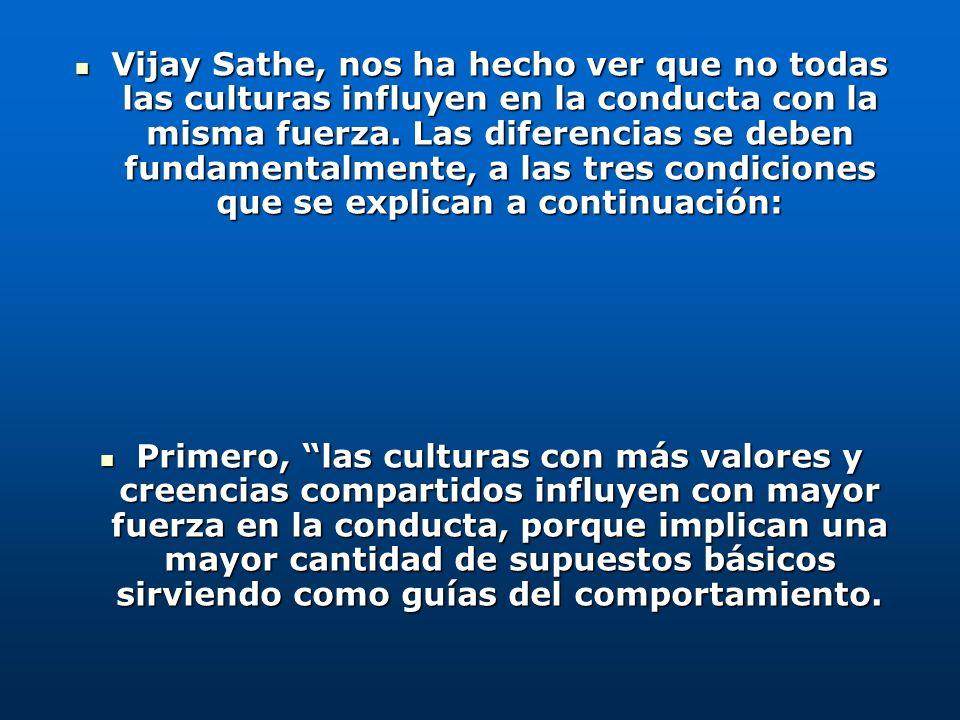 Vijay Sathe, nos ha hecho ver que no todas las culturas influyen en la conducta con la misma fuerza. Las diferencias se deben fundamentalmente, a las