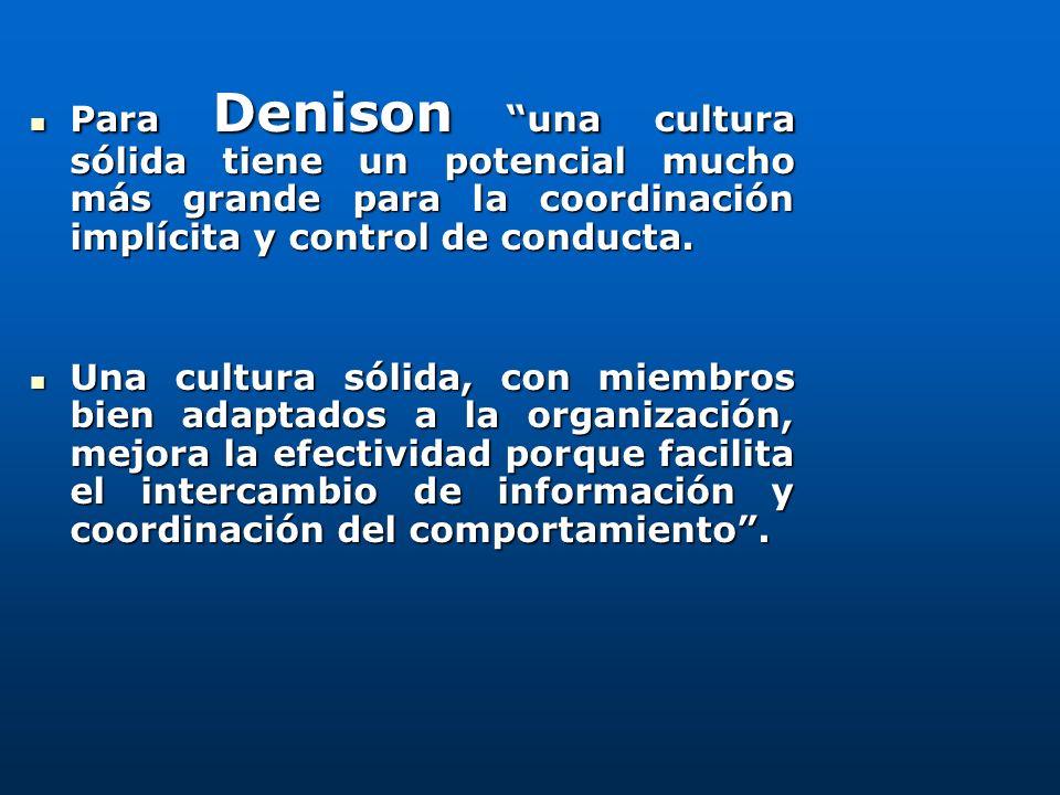Para Denison una cultura sólida tiene un potencial mucho más grande para la coordinación implícita y control de conducta. Para Denison una cultura sól
