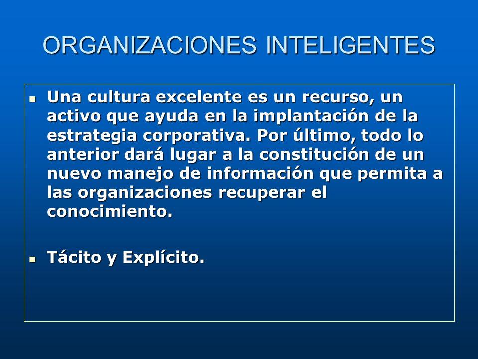 ORGANIZACIONES INTELIGENTES Una cultura excelente es un recurso, un activo que ayuda en la implantación de la estrategia corporativa. Por último, todo