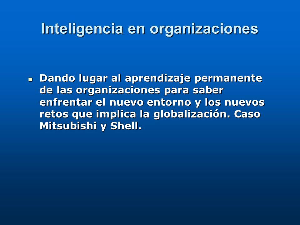 Inteligencia en organizaciones Dando lugar al aprendizaje permanente de las organizaciones para saber enfrentar el nuevo entorno y los nuevos retos qu
